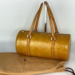 Auth LV Yellow Gold Vernis Monogram Bedford Bag
